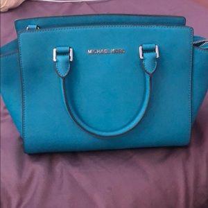 Michael Kors selma leather satchel turquoise